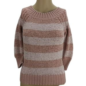 APT. 9 3/4 Sleeve Crewneck Striped Sweater